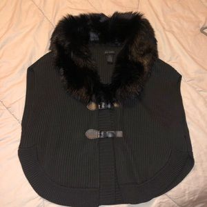 Steve Madden Sweater Poncho Faux Fur